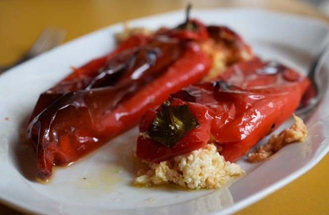 Feta-stuffed peppers recipe, an authentic Greek meze.