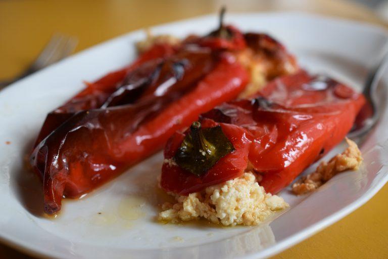 Feta-stuffed peppers recipe, an authentic Greek meze.